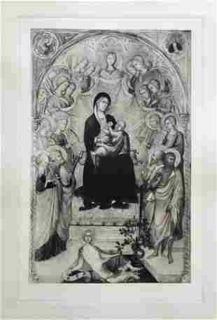 ETCHING AFTER PAOLO DI GIOVANNI THE MADONNA ENTHRONED