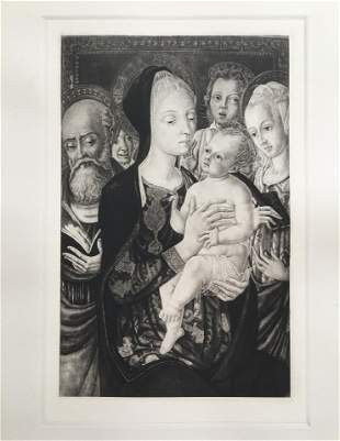 ETCHING AFTER MATTEO DI GIOVANNI MADONNA AND CHILD