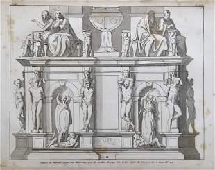 LARGE ENGRAVING BUONARROTI SCULPTURES Ca 1800