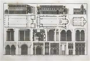 LARGE ANTIQUE ARCHITECTURAL COPPER ENGRAVING