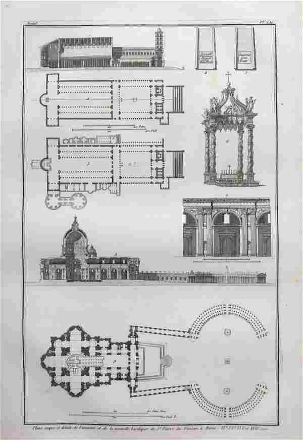 ARCHITECTURAL ENGRAVING ROME VATICAN BASILICA