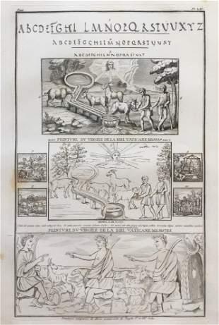 ANCIENT RELIGIOUS MANUSCRIPT ENGRAVING FRANCE CA 1800