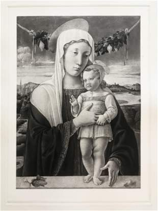 ETCHING AFTER GIOVANNI BELLINI MADONNA AND CHILD