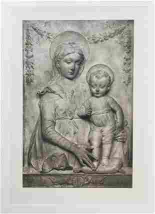 LARGE ETCHING MADONNA AND CHILD