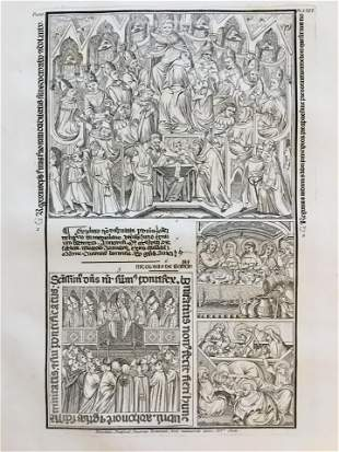 FRENCH ENGRAVING OF AN ANCIENT RELIGIOUS MANUSCRIPT