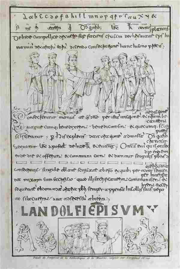 LARGE RELIGIOUS MANUSCRIPT ENGRAVING ROME IXe Siecle