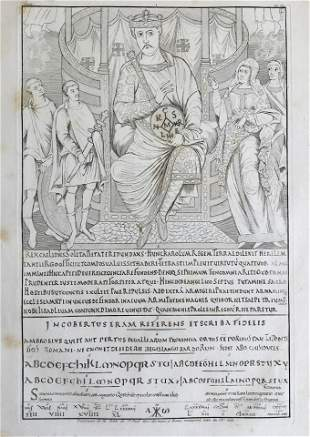 LARGE FRENCH ENGRAVING OF A LATIN RELIGIOUS MANUSCRIPT
