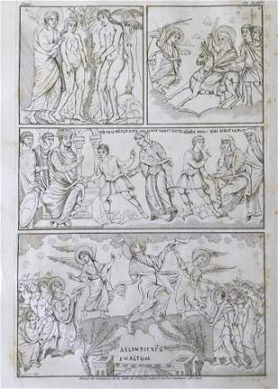 LARGE FRENCH ENGRAVING OF AN ANCIENT BIBLE IXe Siecle