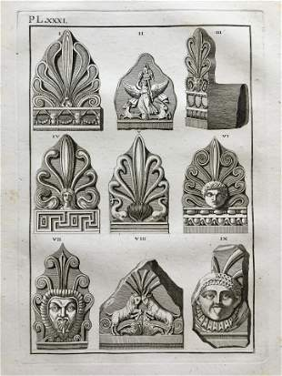 ANTIQUE ENGRAVING OF GREEK STATUES