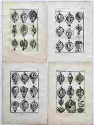 4 ANTIQUE ENGRAVINGS OF ANCIENT GREECE BRONZE ORNAMENTS