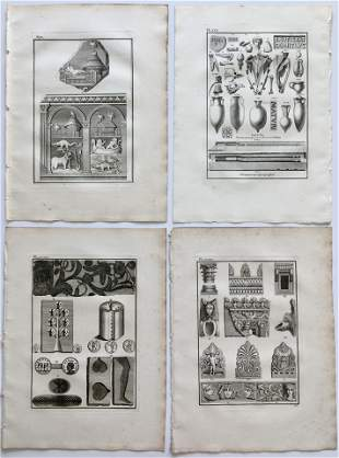4 ANTIQUE ENGRAVINGS OF ANCIENT GREECE ORNAMENTS