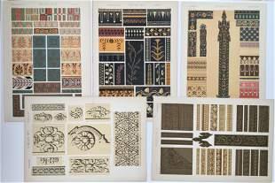 5 ANTIQUE CHROMOLITHOGRAPHS GREEK AND HINDOO DESIGN