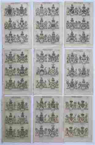 9 COATS OF ARMS ENGLISH NOBILITY JOSEPH EDMONDSON 1785