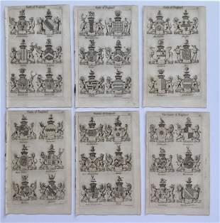 6 COATS OF ARMS ENGLISH NOBILITY JOSEPH EDMONDSON 1785
