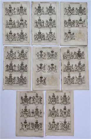 8 COATS OF ARMS SCOTTISH NOBILITY JOSEPH EDMONDSON 1785