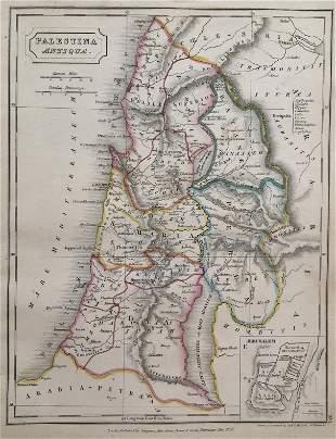Palestina Antiqua Jerusalem Antique Map 1826