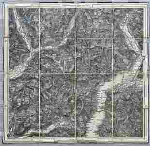 ANTIQUE ITALIAN MAP LAKE COMO REGION
