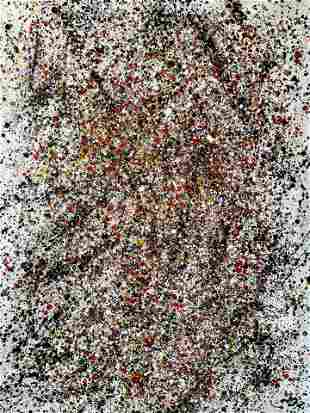 LARGE ABSTRACT ACRYLIC PAINTING ON CANVAS POLLOCK STYLE