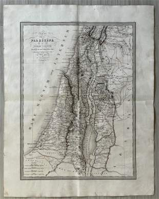 ANTIQUE PALESTINE OR HOLY LAND MAP 1833