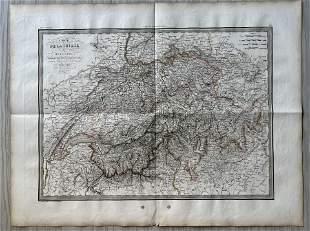 ANTIQUE SWITZERLAND MAP 1833