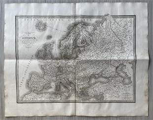 ANTIQUE MAP OF EUROPE 1833