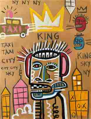 POP ART MIXED MEDIA PAINTING ON PAPER BASQUIAT STYLE