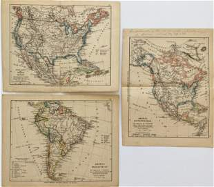 3 MAPS United States, Mexico, South America 1889