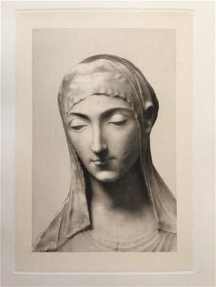 LARGE MINO DA FIESOLE ETCHING BUST OF THE MADONNA