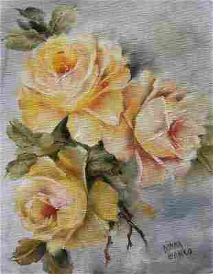 OIL PAINTING ON CANVAS BOARD FLOWERS