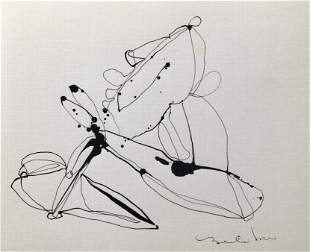 FRENCH ABSTRACT MINIMALIST INK ON PAPER DRAWING