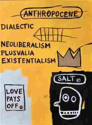 POP GRAFFITI ART LARGE MIXED MEDIA ON PAPER PAINTING