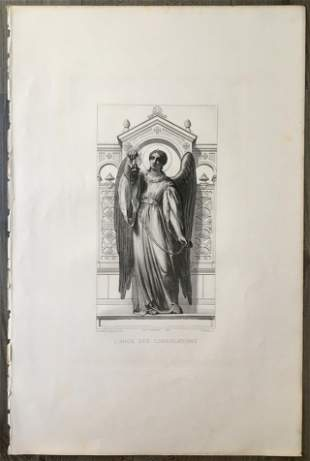 CLAUDIUS JACQUAND LARGE ENGRAVING OF AN ANGEL