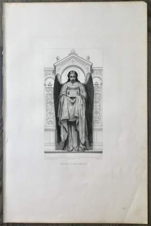 CLAUDIUS JACQUAND LARGE ANTIQUE COPPER ENGRAVING