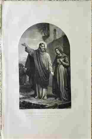 CLAUDIUS JACQUAND LARGE ENGRAVING JESUS AND MARY