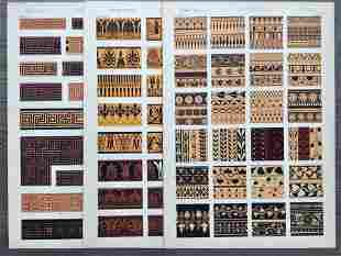 LOT OF 3 ANTIQUE CHROMOLITHOGRAPHS GREEK DESIGN