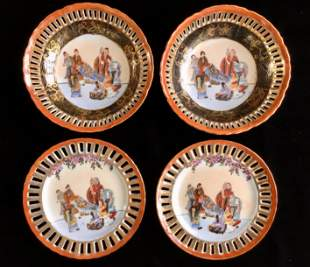 CHINESE PORCELAIN BOWLS AND HANGING PLATES MARKED