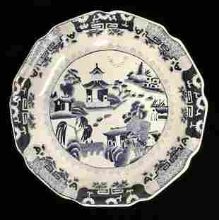 CHINESE BLUE AND WHITE CERAMIC CHARGER PLATE W MARK