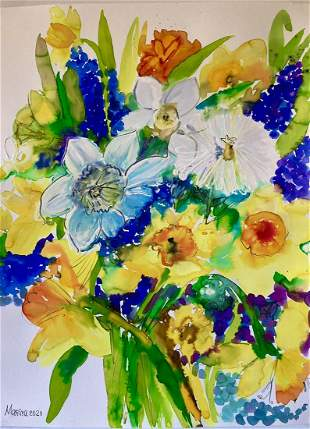 LARGE WATERCOLOR PAINTING FLOWERS