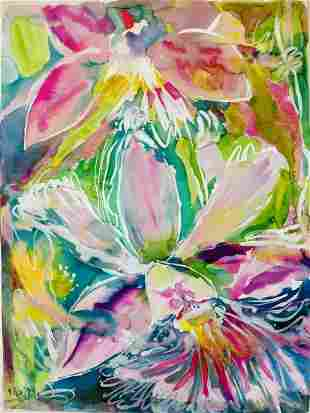 LARGE WATERCOLOR PAINTING PINK ORCHID