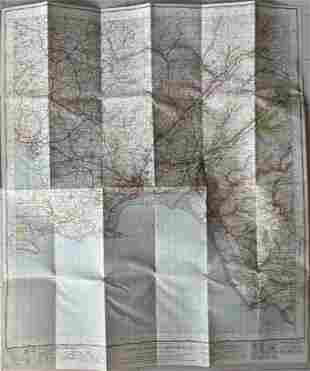 LARGE VINTAGE MAP OF SWANSEA ENGLAND