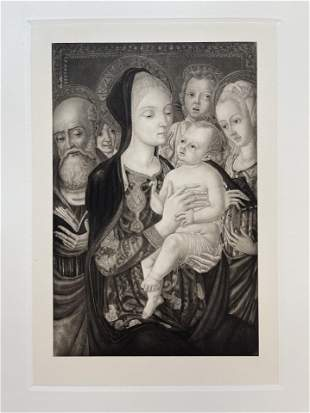 MADONNA AND CHILD LARGE ETCHING AFTR MATTEO DI GIOVANNI