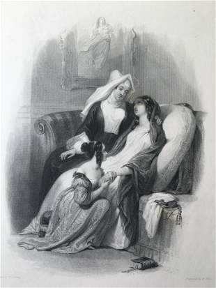 ANTIQUE VICTORIAN ENGRAVING THE SISTER OF CHARITY