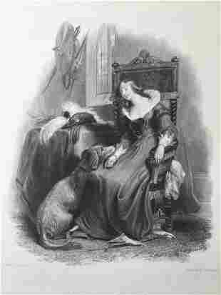 ANTIQUE VICTORIAN ENGRAVING THE BARONS DAUGHTER