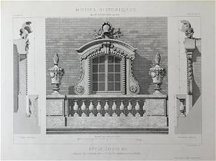 ANTIQUE FRENCH ARCHITECTURAL ENGRAVING STYLE LOUIS XIV