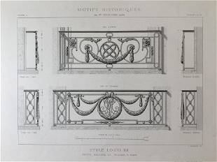 ANTIQUE FRENCH ARCHITECTURAL ENGRAVING STYLE LOUIS XVI