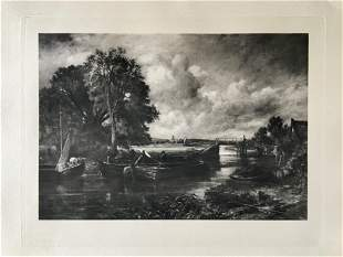 ETCHING JOHN CONSTABLE VIEW ON THE STOUR, NEAR DEDHAM