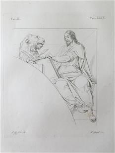 ANTIQUE ITALIAN RELIGIOUS PRINT JESUS AND LION