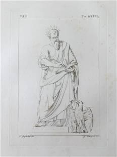 ANTIQUE ITALIAN RELIGIOUS PRINT SAINT AND EAGLE