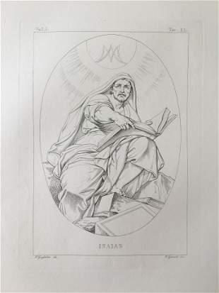 ANTIQUE ITALIAN RELIGIOUS ENGRAVING PROPHET ISAIAS
