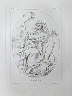 ANTIQUE ITALIAN RELIGIOUS ENGRAVING PROPHET BARUCH